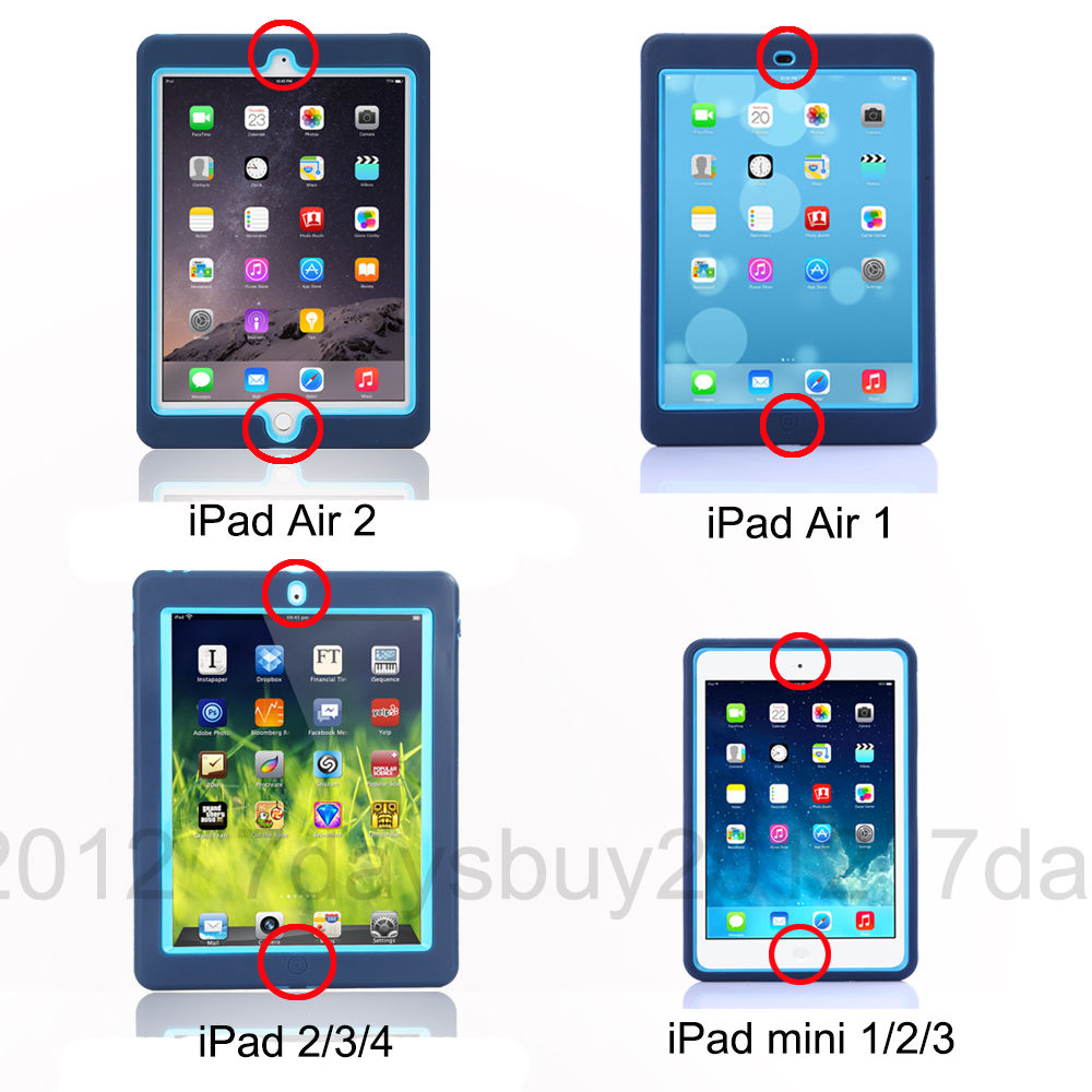 Military Heavy Duty Shockproof Tough Case for iPad 4 3 2/iPad mini/iPad Air 2