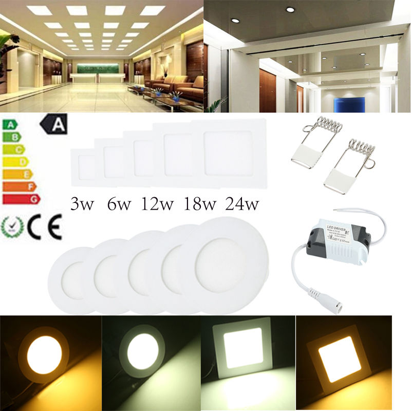 6w 12w 18w 24w Led Recessed Ceiling Flat Panel Down Light: LED DOWNLIGHT 6W 12W 18W 24W WARM/DAY WHITE PANEL FLAT