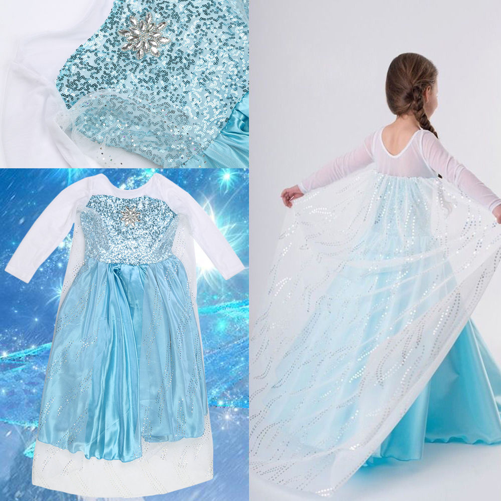 Kids Girls Dresses Ice Queen Costume Princess Party Birthday Fancy ...