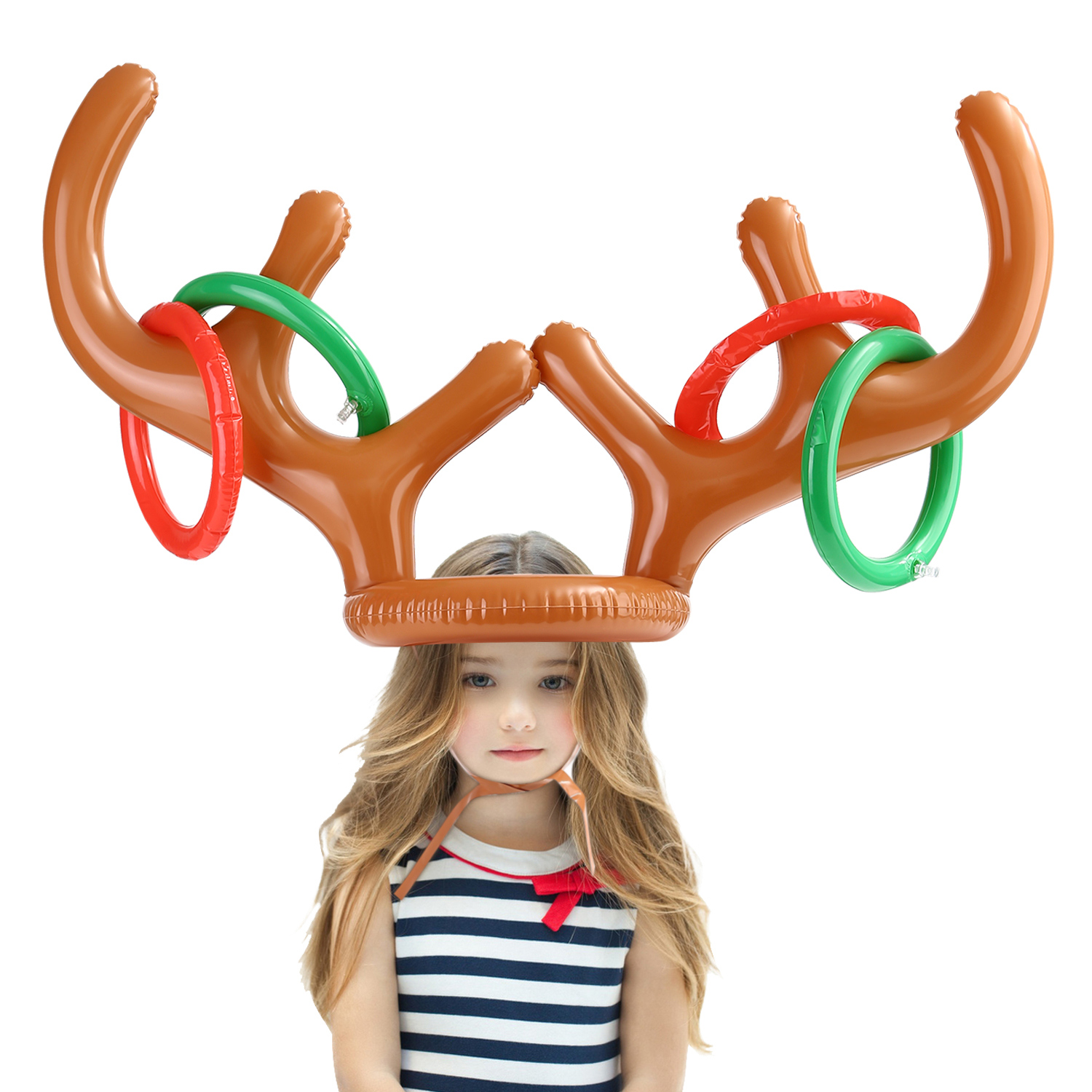 Christmas Party Holiday Game Inflatable Reindeer Antler Hat