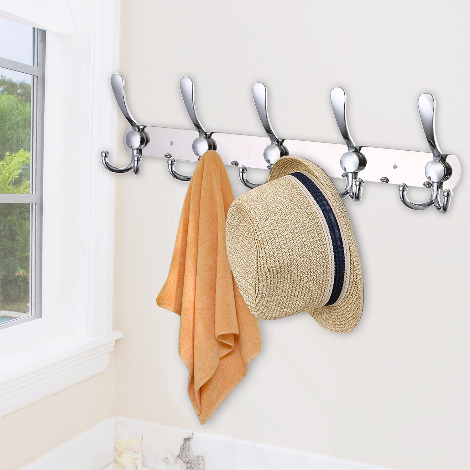 Wall Mounted Coat Rack Hook Hat Clothes Hanging Hanger