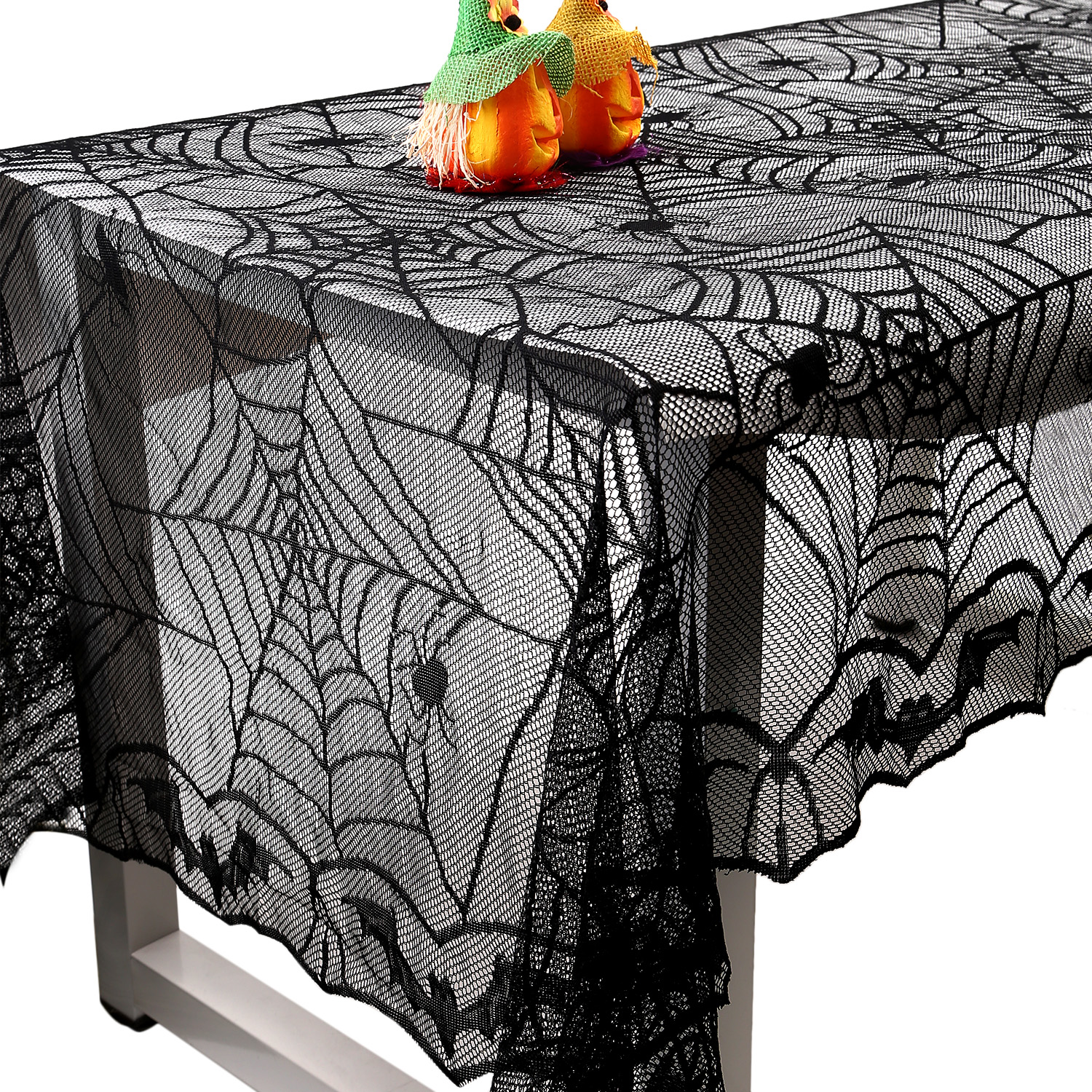 Halloween Spider Web Rectangular Lace Tablecloth Mantle Scarf