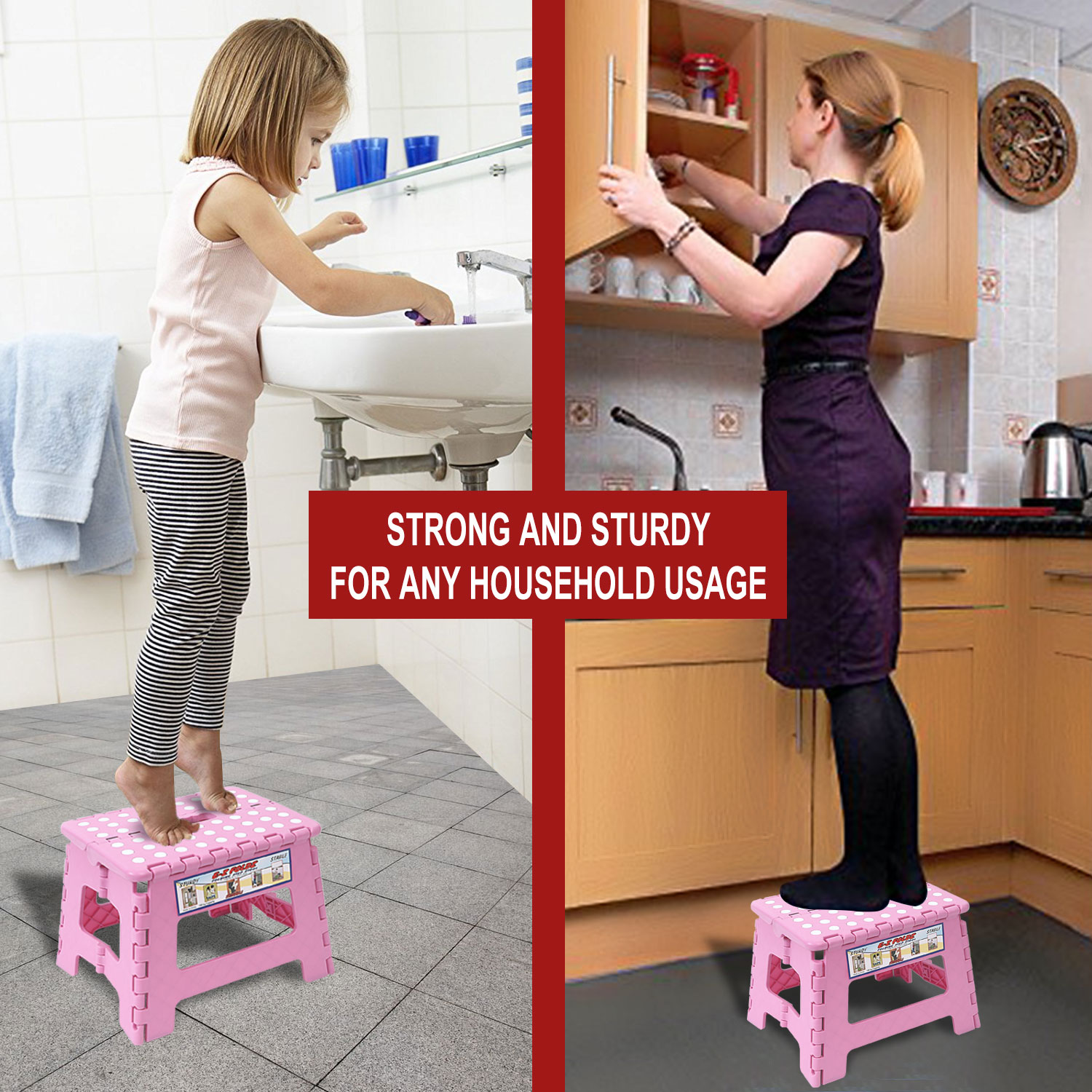 Foldable Step Stool For Bathroom Kitchen Garden Anti Slip