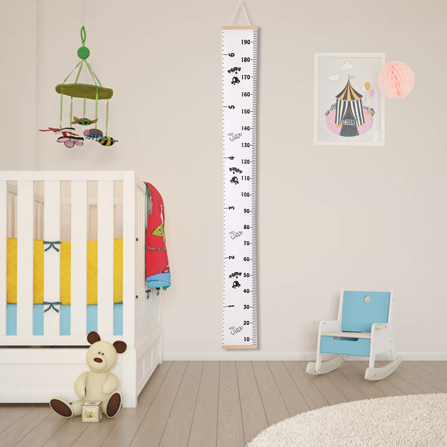 Wood Frame Kids Baby Height Growth Chart Wall