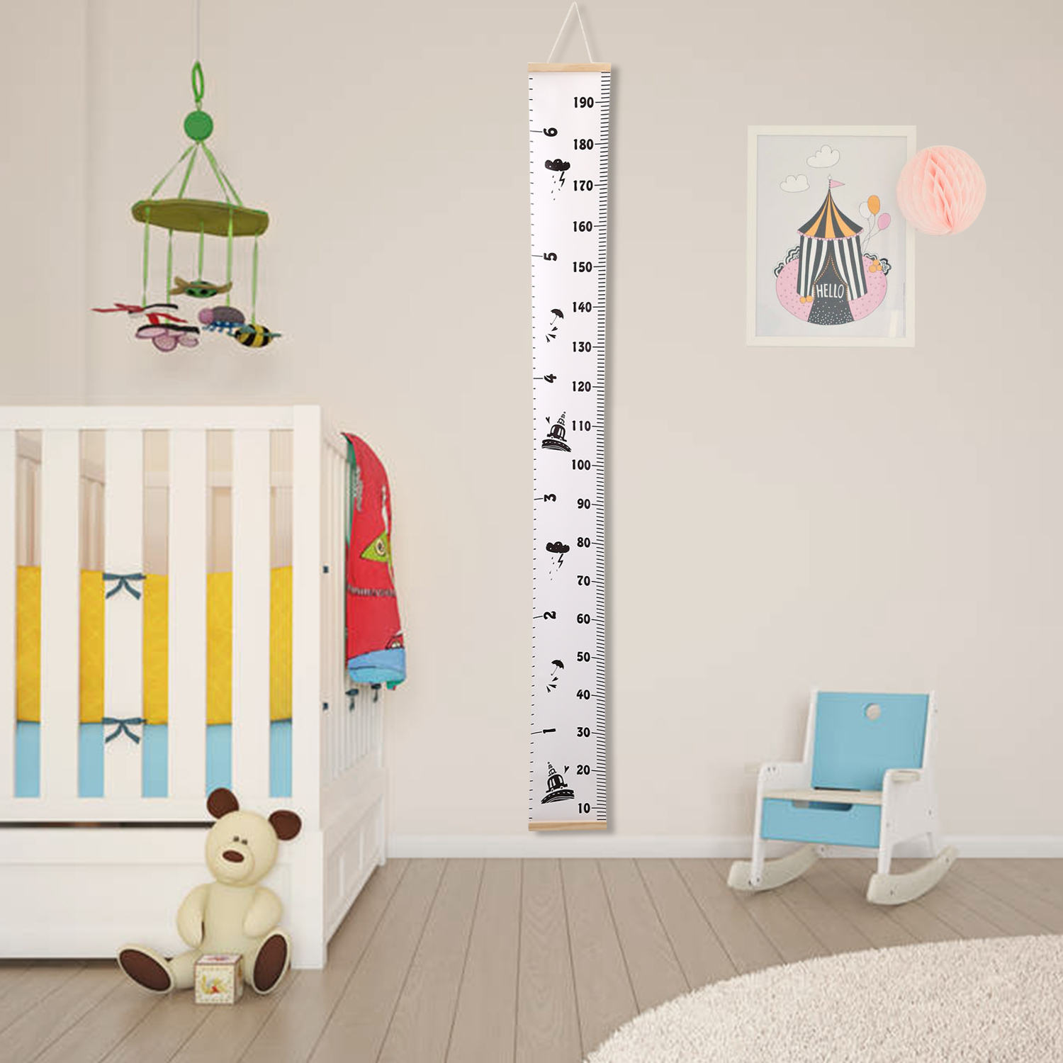 Baby Growth Chart Handing Ruler Wall Decor for Kids Removable Canvas Height Growth Chart for Bedroom Nursery 79x7.9