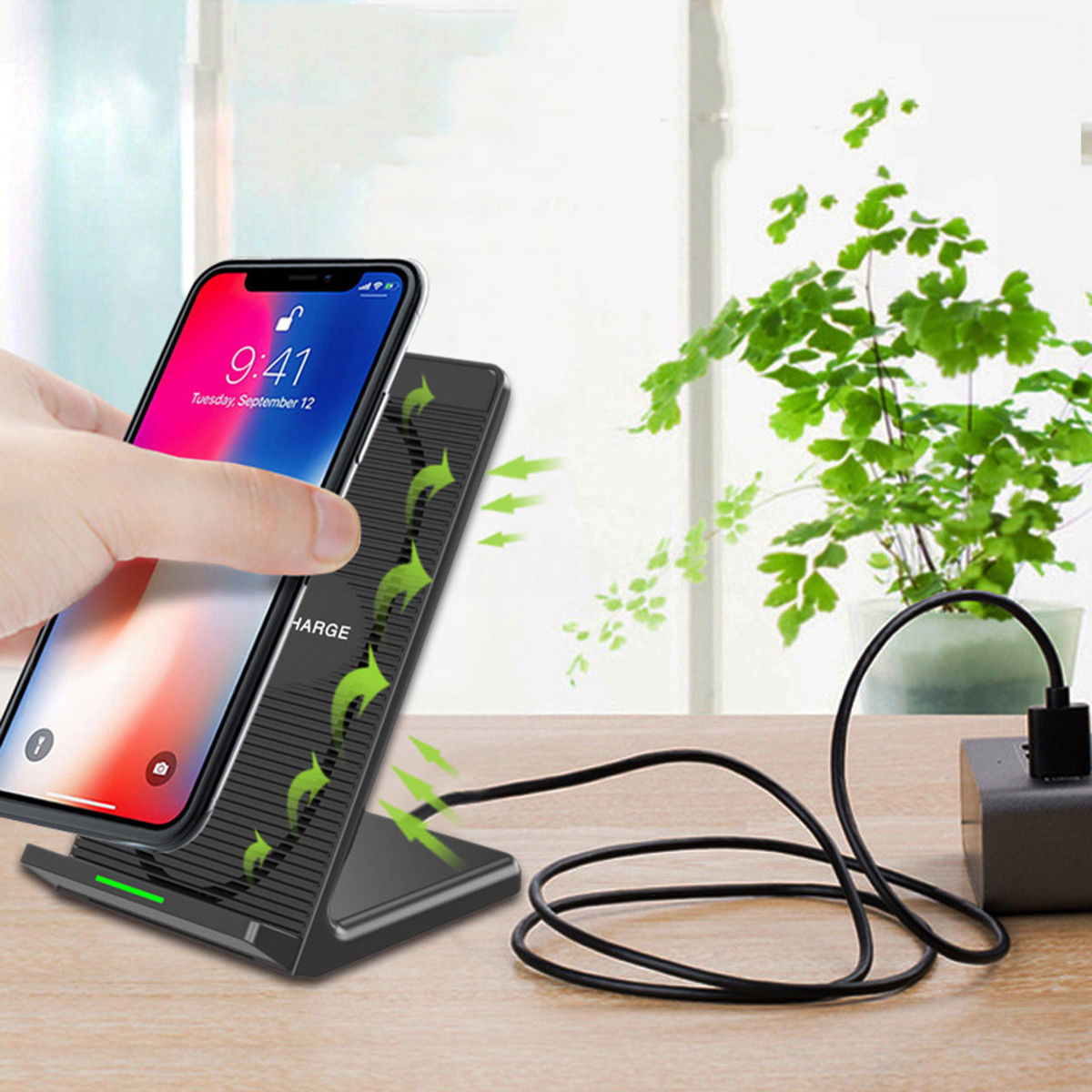 Qi Wireless Charger Charging Stand Dock For Iphone Samsung Cooling Universal Receiver Reveres Port Smartphone Fan
