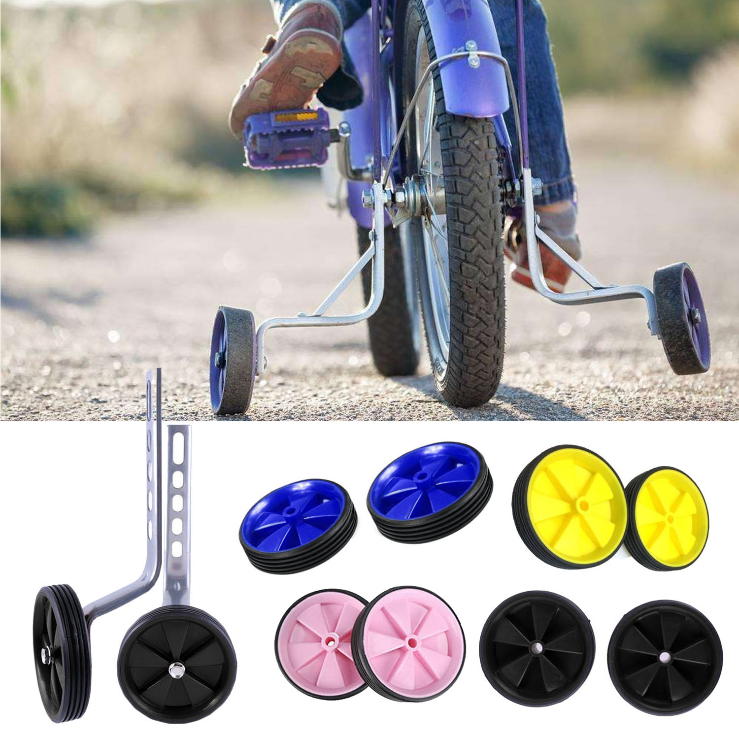 Universal Bike Stabilisers Cycling Fun And Safety Bicycle Training Wheels With Led Colorful Light Up For