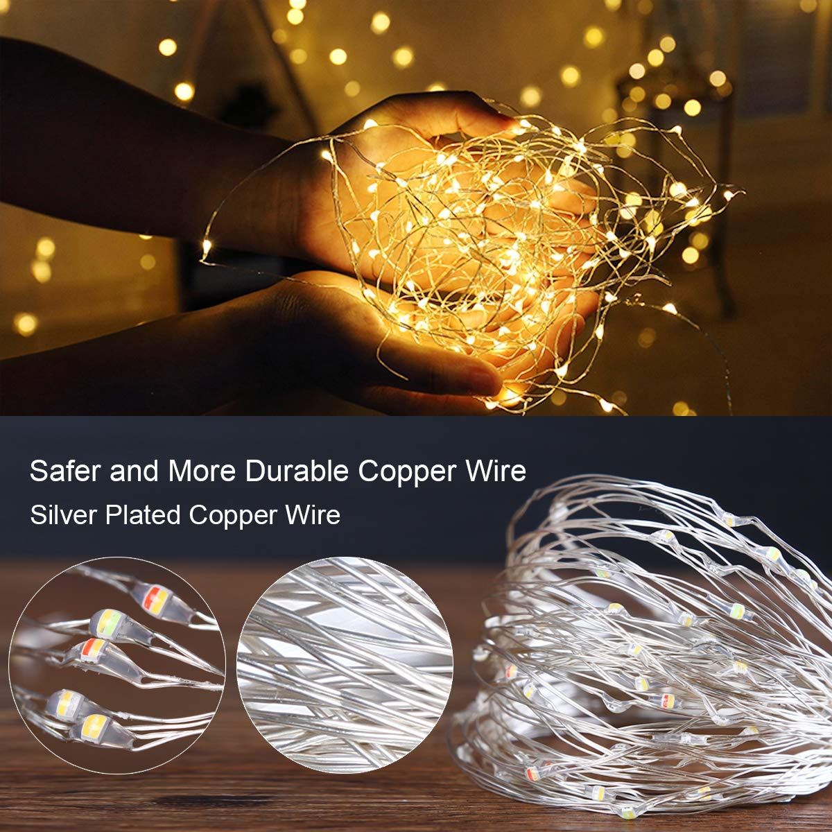 20 100 Led Battery Plug In Rice Wire Copper Fairy String Lights Wiring A Gold And Silver Christmas Tree