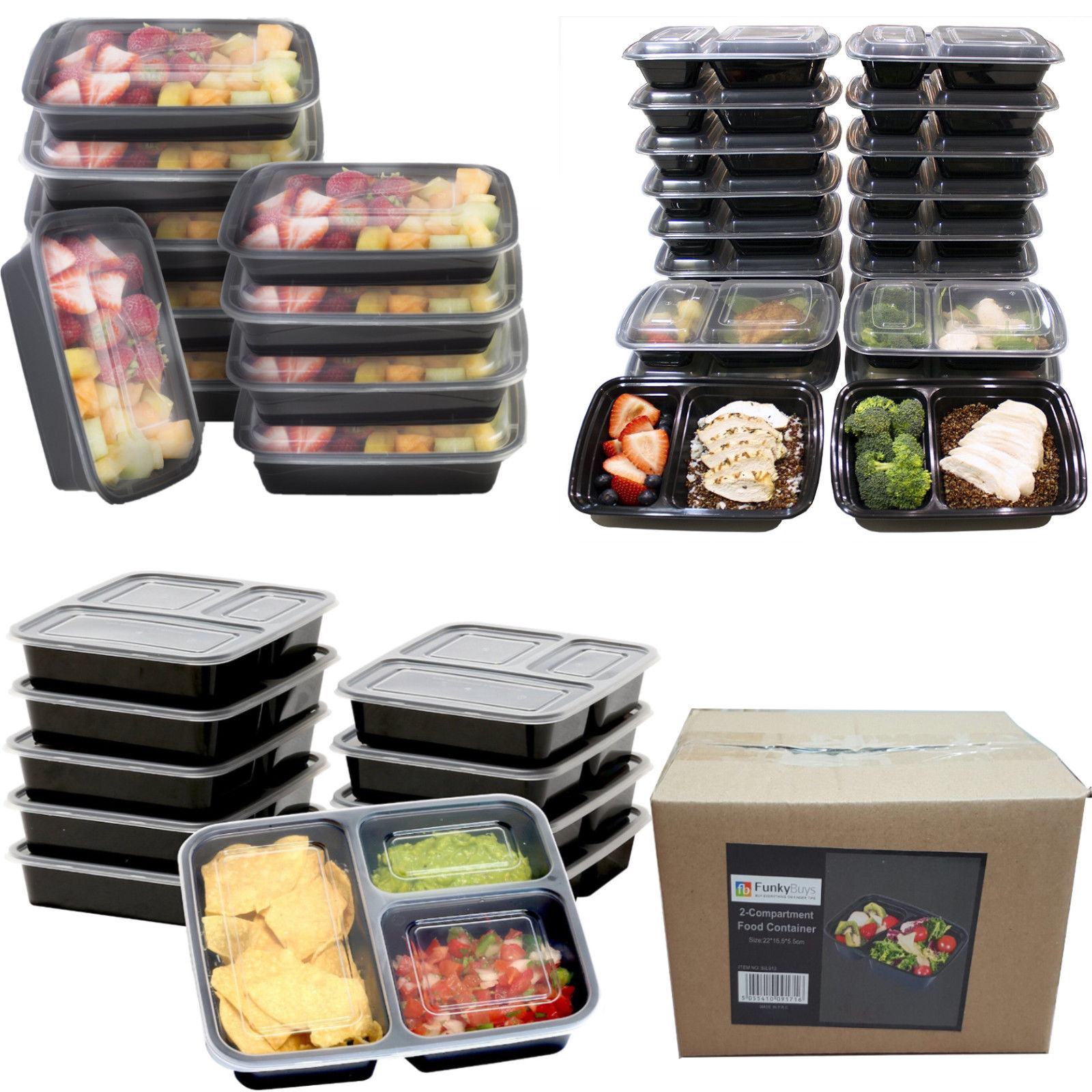 1 10x meal prep plastic food containers 3 compartment lids reusable microwavable ebay. Black Bedroom Furniture Sets. Home Design Ideas