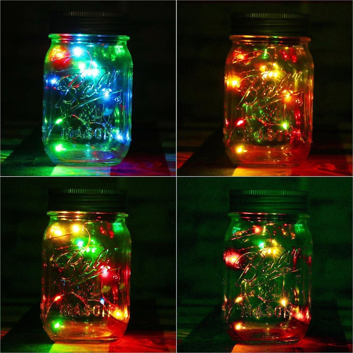 SOLAR BATTERY OPERATED GLASS JAM MASON JAR CHRISTMAS LED FAIRY STRING LIGHTS