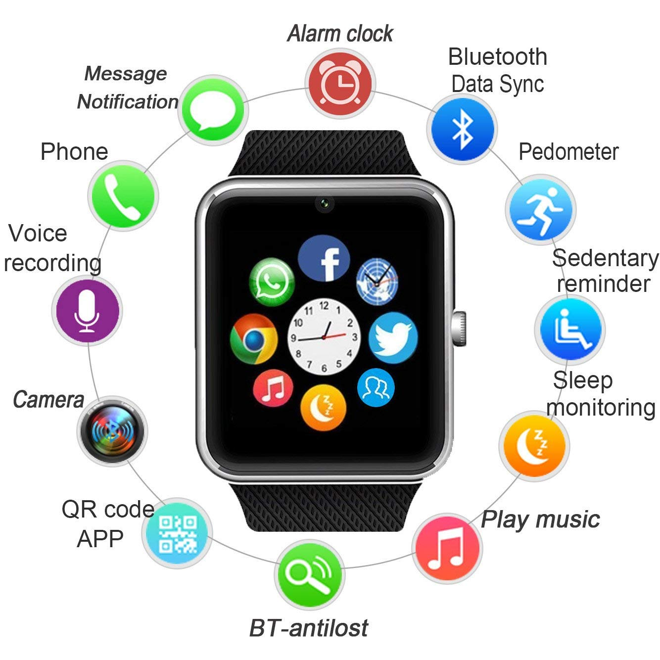 4.0 Bluetooth Smart Watch SIM Card GSM Sport Wrist watch for kids android iPhone
