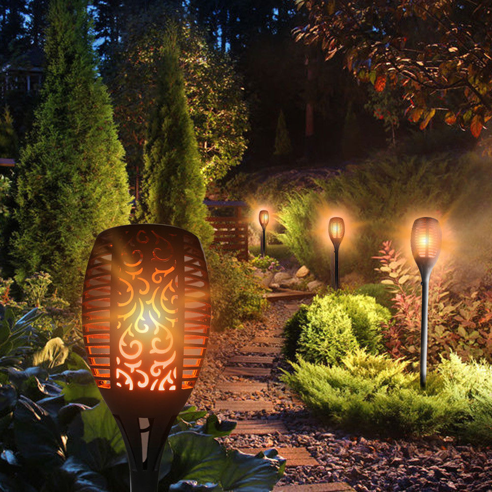 Led Landscape Lights Flickering: 2019 LED Solar Powered Path Flickering Torch Light Flame