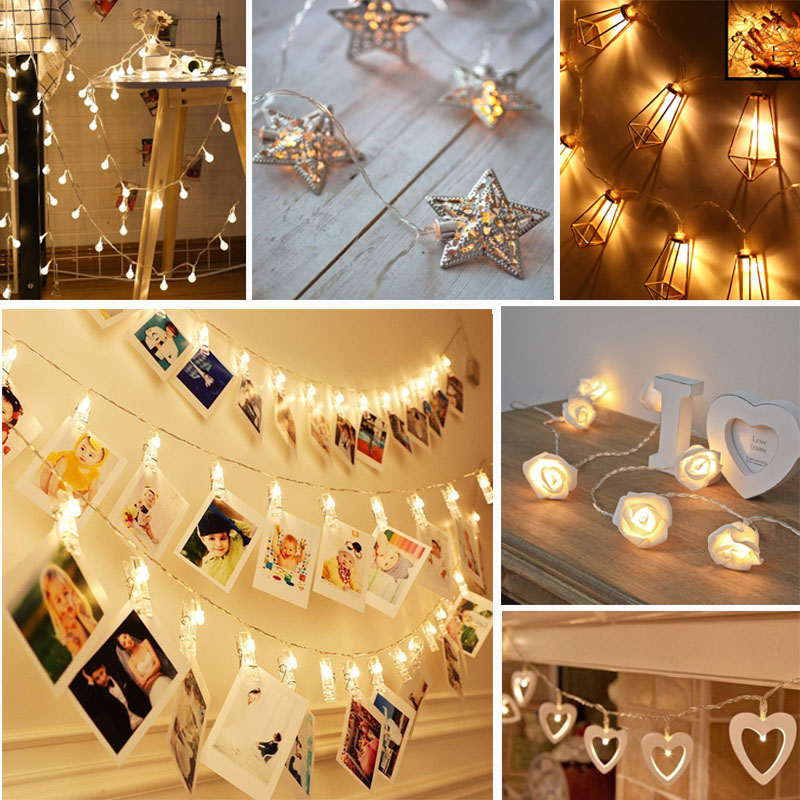Led String 30 Led Warm White Battery Operated String Light Fairy Photo Peg Clip Fairy Hanging Window Decor A Great Variety Of Models