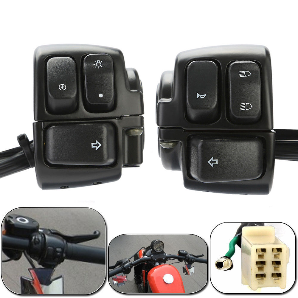 2x Motorcycle 1 Handlebar Control Switches Black Wiring Harness Hd Harley Image Is Loading 034
